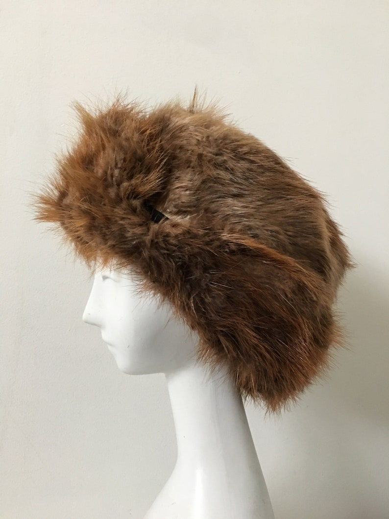 697efb7453b185 Vintage Fur Hat Large Trapper Hat Ear Flaps Size 7 3/8 | Etsy