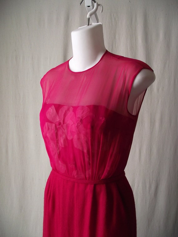 1950s Wool Suit Illusion Bodice Dress with Cropped