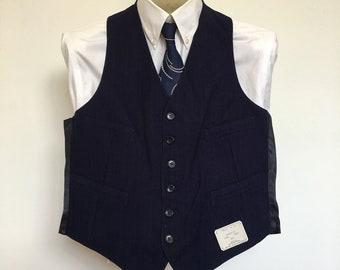 Men's Vest Deadstock Navy Blue Black Pinstripe Wool Shirtwaist Wedding Rockabilly Steampunk Small Size 39 50's 60's MadMen Ratpack Suit