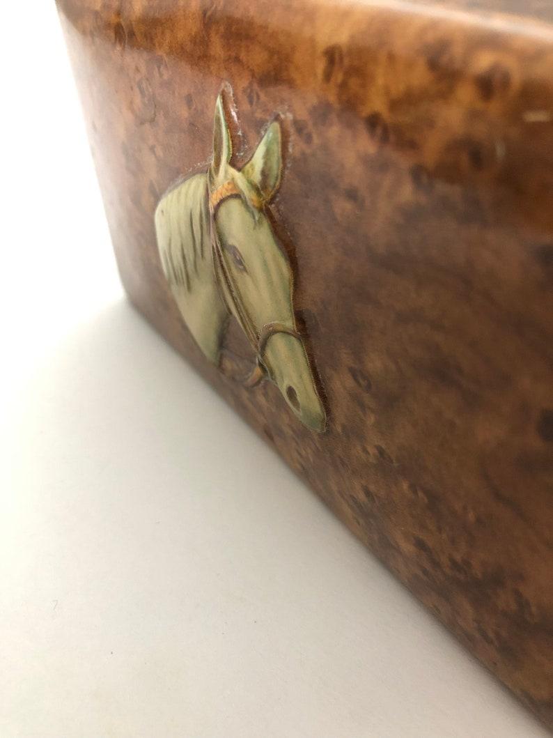 Vintage Storage Tin Fois Bois Burl Wood Printed Tin with Embossed Horse Head