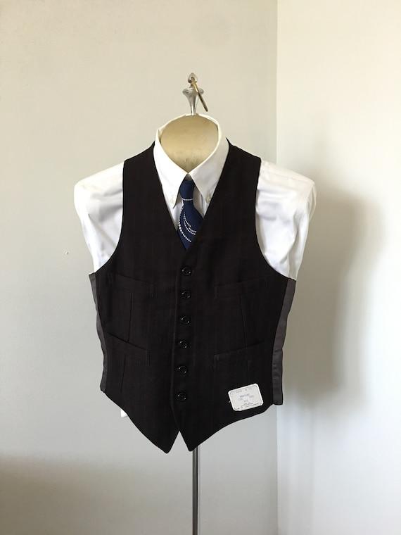 Men's Vest Deadstock Dark Brown Wool Blue Pinstrip