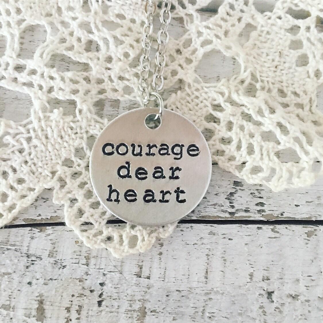 C.S Aslan Locket Aslan Necklace dear heart Courage Lewis quote locket.