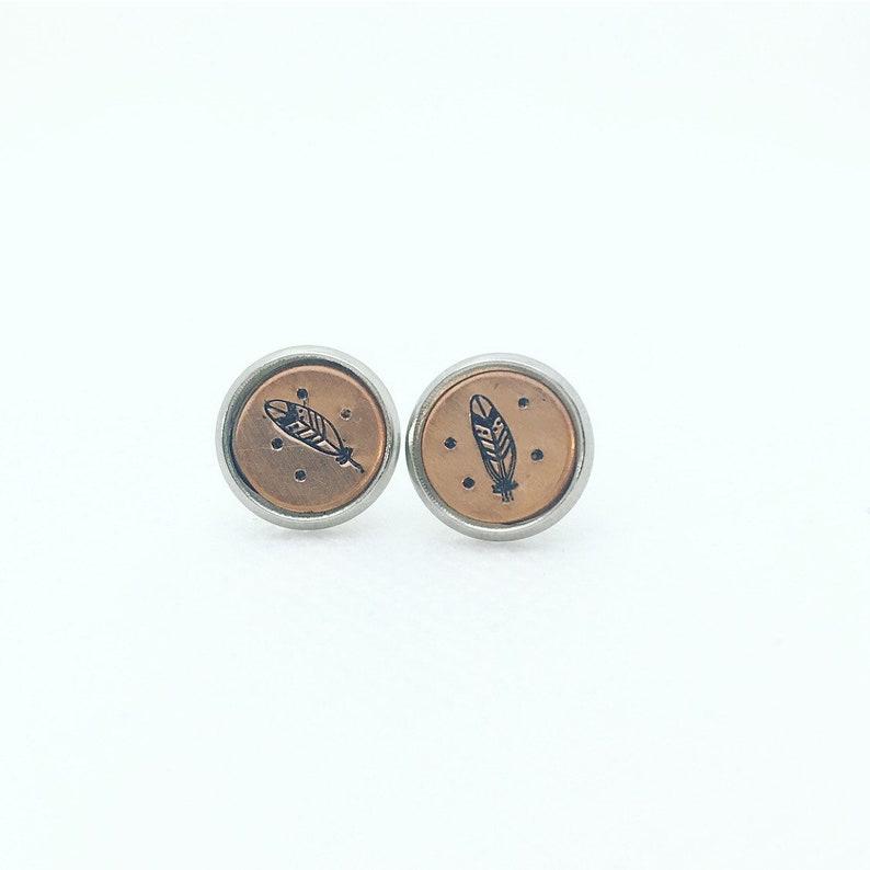 bohemian earrings boho earrings copper metal stamped stainless steel post earnings Feather stud earrings mixed metal earrings