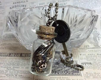 Real Steampunk handmade necklace vintage watch parts- Time In A Bottle necklace  Mechanical Romance