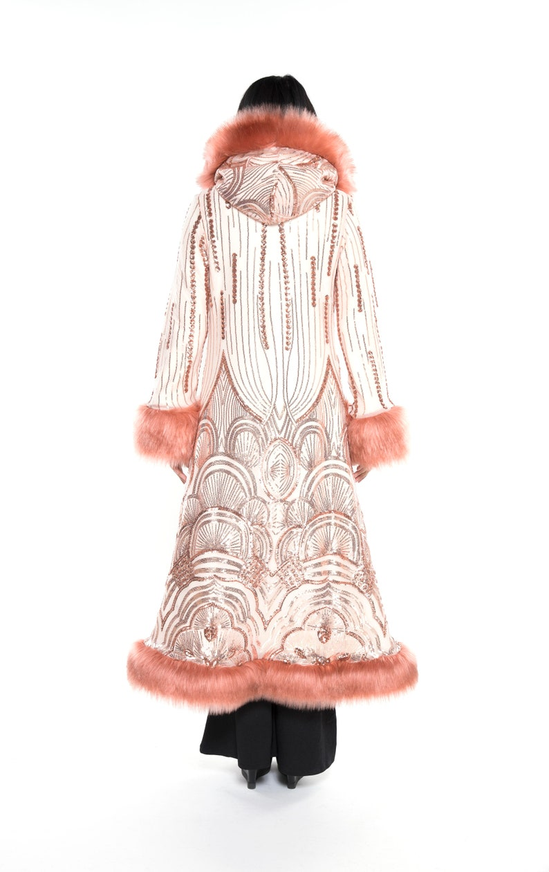1920s Coats, Furs, Jackets and Capes History     Read the full title    Baroness Rose Gold Art Deco Sequin with Rose Faux Fur Coat Festival Coat Festival Clothing Wedding 1920s Costume Party $520.00 AT vintagedancer.com