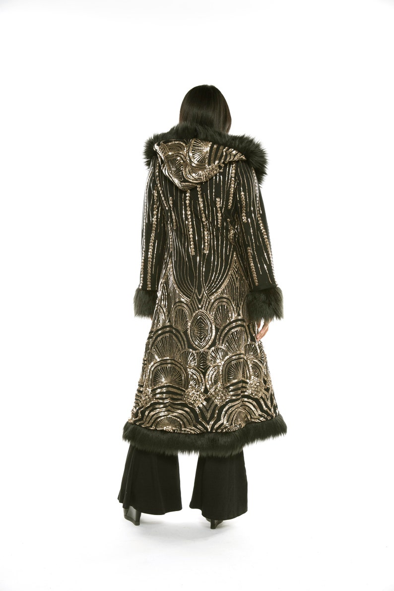 1920s Coats, Furs, Jackets and Capes History     Read the full title    Baroness Gold Art Deco Sequin with Black Faux Fur Coat Festival Coat Festival Clothing Party Unisex $520.00 AT vintagedancer.com