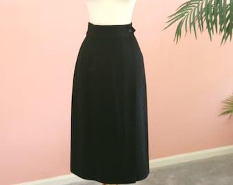 c21c34db9b12 Black 100% Wool Wrap Around Fully Lined Ladies Skirt, Size 4 Skirt, Pencil  Black Skirt, Mid-Calf, Harve Bernard Skirt
