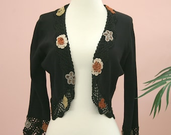 e331e3eeee1 Ladies Short Crop Crochet Trim Black Floral Sweater