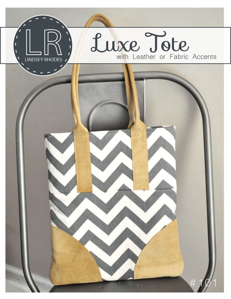 PDF Sewing Pattern / Luxe Tote / Leather Accent Handbag image 0