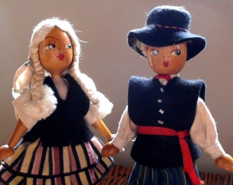 Pair of  Vintage Wooden Polish  Dolls