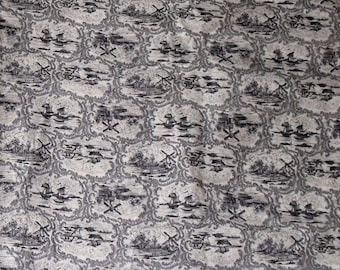 2 Yards Black and White Toile Fabric