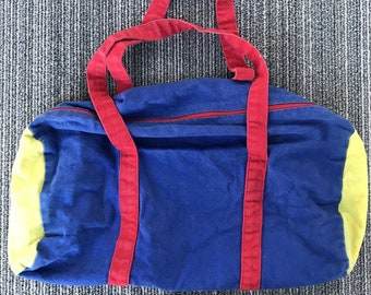 7e89d7be7c Vintage 1980s 80s Blue   Red   Yellow Chucky Good Guys Style Retro Duffle  Bag Duffel