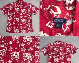 8faaa4bed Vintage 1990s 90s Lands' End Red Tie Dye Style Hibiscus Print Cotton Hawaiian  Aloha Shirt Mens Size M Medium