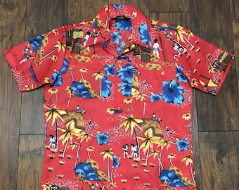 Vintage Red Hawaiian Aloha Tiki Luau Polyester Casual Shirt Mens Size S Small