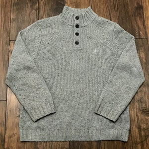 Size XXL 46 to 48 USUK 1990s Off White Cotton Cable Knit Sweater with Navy Blue Neckline European Vintage Aran Style Pullover Jumper