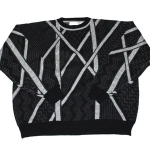 Vintage 90s Striped Knit Sweater in Black Made in USA Mens Size XL
