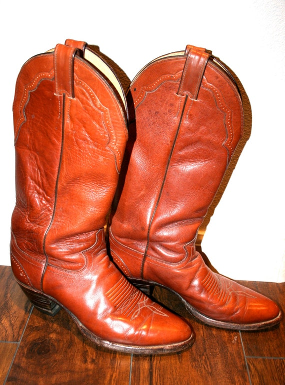 80/'s Vintage Justin Red Leather Cowboy Boots