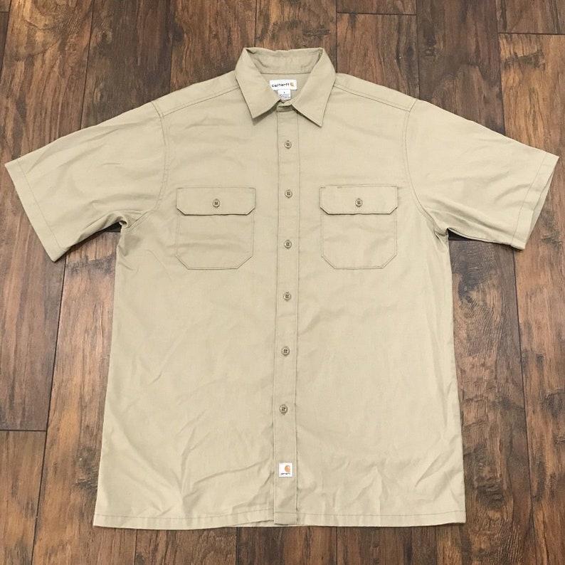 e76e8d44127 Vintage 1990s 90s Carhartt Khaki 2-Pocket Button Up Work Shirt