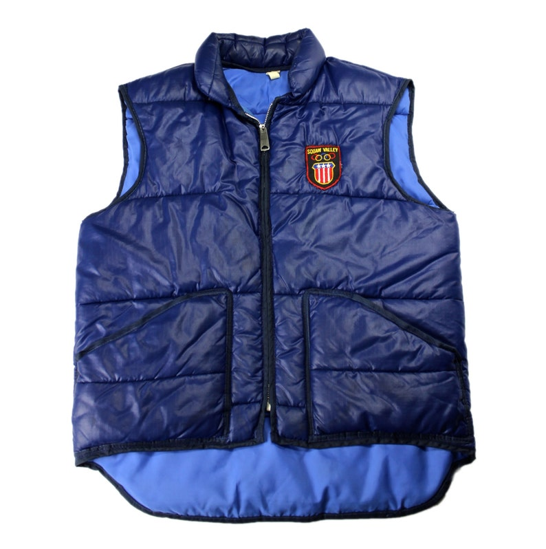 Vintage 1960s 60s 1960 Squaw Valley Olympics Patch on Navy Blue Down Skiing Vest Mens Retro Sportswear Size Small