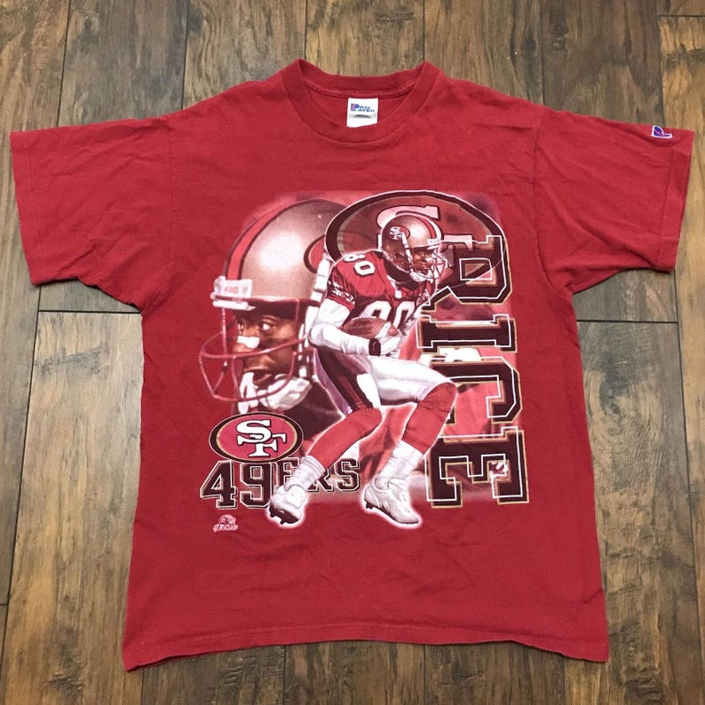 a3b89993 Vintage 1990s 90s Pro Player San Francisco 49ers Forty Niners #80 Jerry  Rice NFL Shirt Made in USA Mens Sportswear Size Large