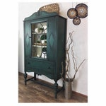 Wood Teal China Hutch / Antique Jacobean Teal and Ivory Hutch / Vintage Storage Cabinet