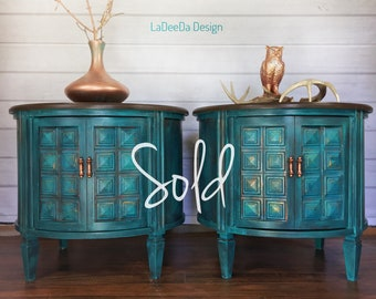 SOLD - Teal End Tables - Side Tables - Mid Century - Painted - Patina Wood with Storage and Door