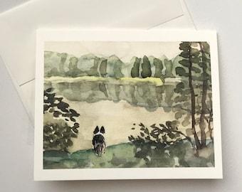 Ebee at the Lake notecard blank card original watercolor print