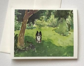 Ebee in Green Grass notecard blank original watercolor print