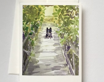 Ebee on the Bridge notecard blank card original watercolor print