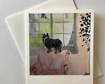 Ebee in the Window note card blank card original watercolor print