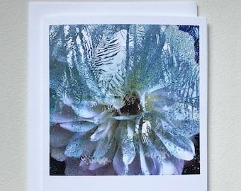 Dahlia in the Pool notecard blank card original art