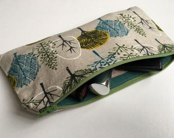 Cosmetic Bag pouch linen cotton canvas nature trees steel