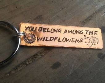 Tom Petty Wildflowers Keychain or lyrics of your choice, silver or copper colored