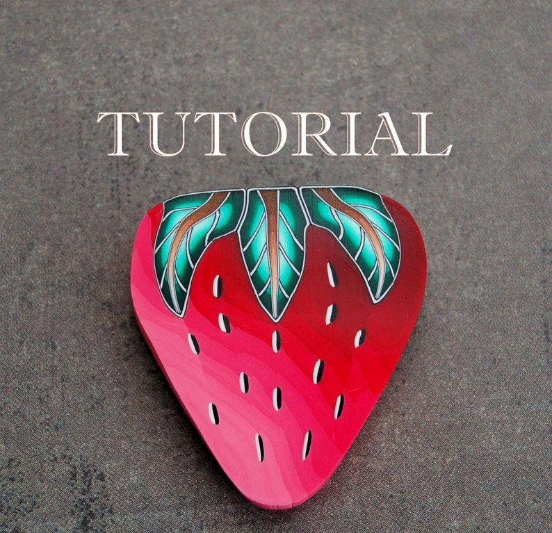 2-in-1 PDF Tutorial Strawberry and Leaf polymer clay canes image 0