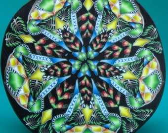 HALF PRICE SALE Large Polymer Clay Kaleidoscope Cane -'Jungle Journey' (36D)
