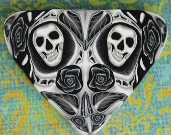 ONE LARGE SLICE of Polymer Clay Skull Kaleidoscope Triangle Cane