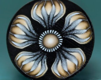 Gold, Silver, and Black Polymer Clay Flower Cane (27dd)