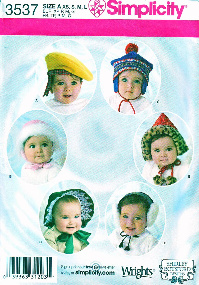 e7237dcc06b Simplicity Pattern 3537 - Baby and Toddler (XS-S-M-L) - Babies Toddlers -  Hats - Bonnets - Four Sizes - Six Designs - Uncut FF Pattern
