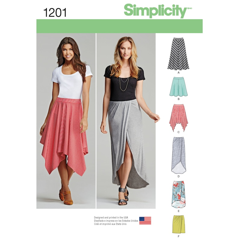 Simplicity Pattern 1201 Misses Pull-On Knit Skirts with Length image 0