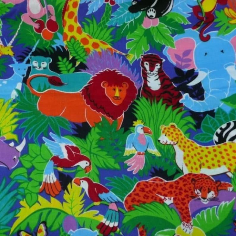 2 YDS  Colorful Jungle Print Fabric  VIP Cranston  Hippo image 0