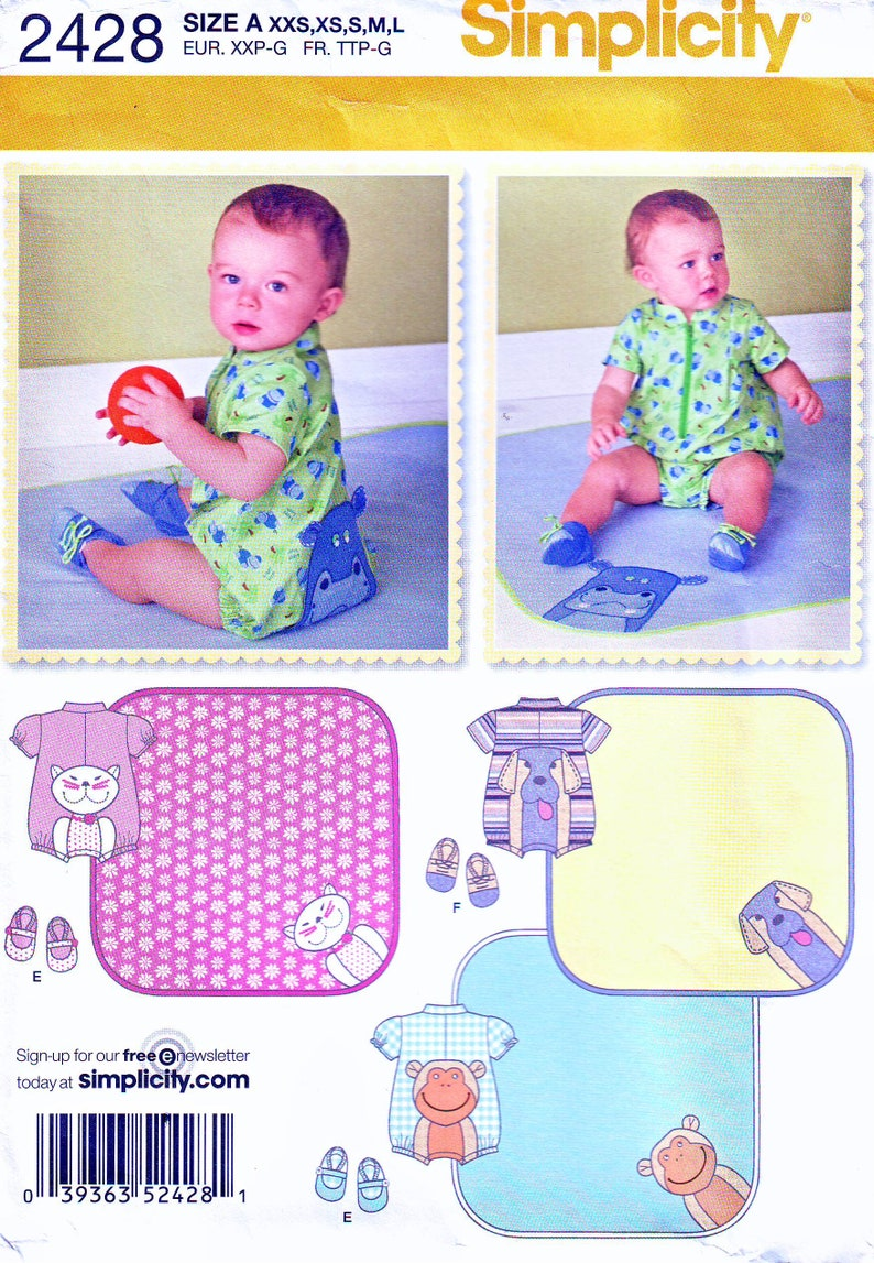 Simplicity Pattern 2428  Babies' Romper with Appliques image 0