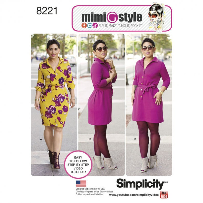 Simplicity Pattern 8221 Mimi G Misses/Womens  Shirt Dress in image 0