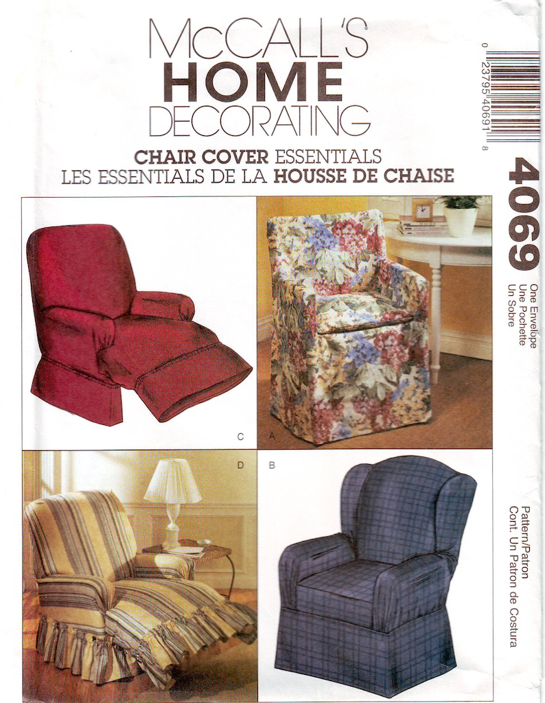 Mccall S Pattern 4069 Chair Cover Essentials Diy Slipcovers For Directors Chair Wing Back Chair And Recliners Uncut Ff Sewing Pattern
