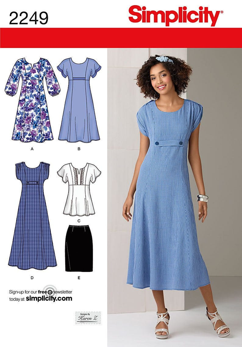 Simplicity 2249 Pattern Misses Dress in Two Lengths and Two image 0