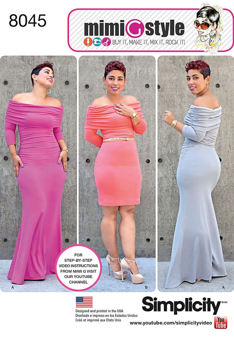 Simplicity Pattern 8045  Mimi G Style Knit Dress in Two image 0