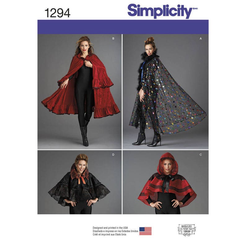 Simplicity Pattern 1294 Misses Capes in Four Styles Goth Cape image 0