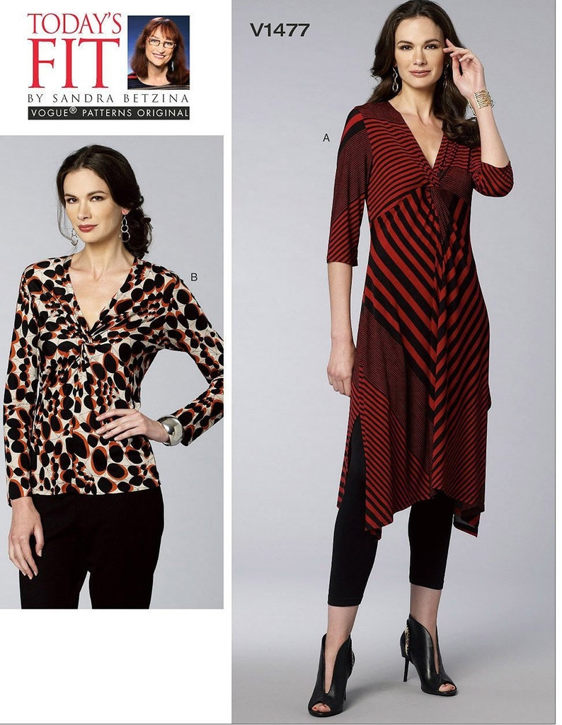 Vogue Pattern V1477  Misses Pullover Tunic and Top 3/4 image 0