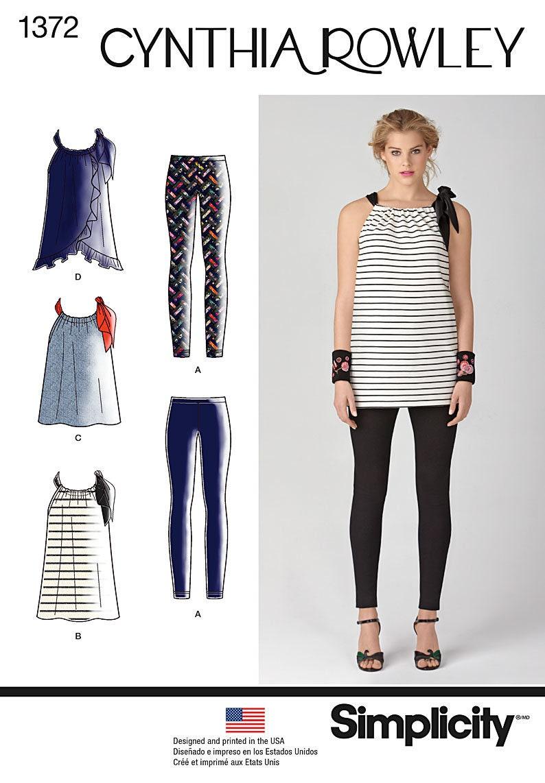 Simplicity Pattern 1372 Mini Dress Top Tunic Knit Leggings Bow image 0