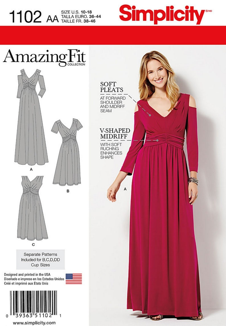 Simplicity Pattern 1102  Amazing Fit Knit Dress in Two Misses (10-18)