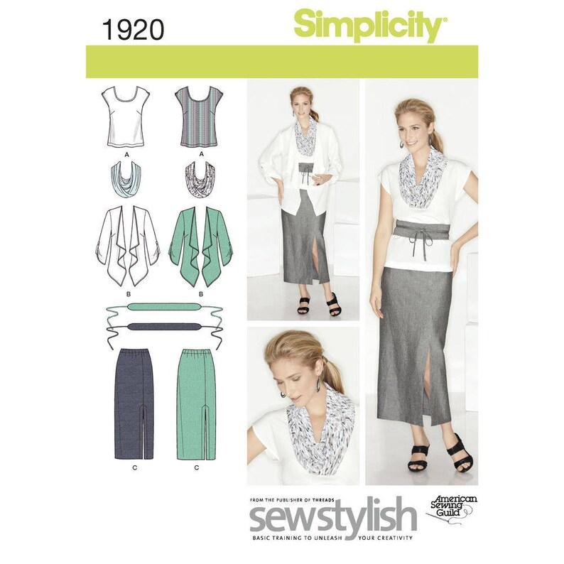 Simplicity Pattern 1920 Skirt Top Jacket Infinity Scarf Belt image 0